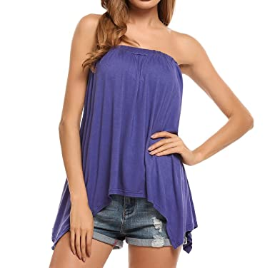 5e26963af6 Elever Irregularly Hem Tube Top Flared Loose Fit Strapless Tunic Shirt