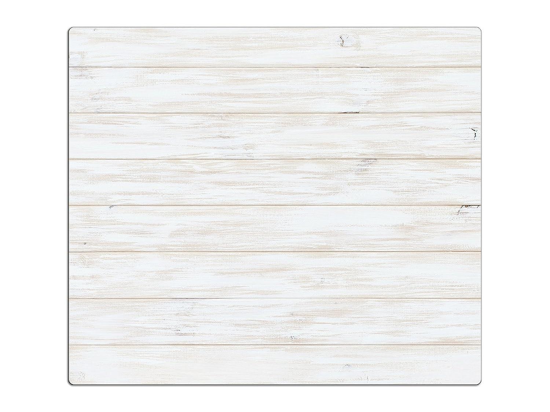 Herdabdeckplatten, Schneidebrett aus Glas, Holz Optik Weiß HA524188486 Variante 1x Scheibe (1 Panels)