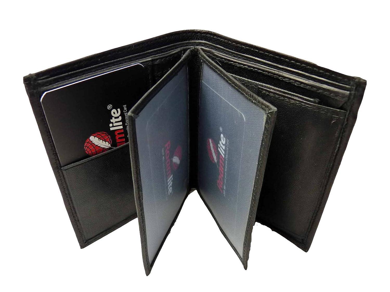Cartera de cuero para hombre, con 11 ranuras para tarjetas y monedero, de Roamlite, Black GIFT BOXED (Negro) - RL23W: Amazon.es: Equipaje