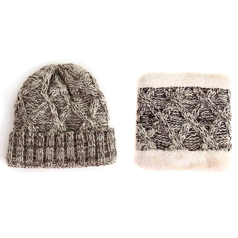 ACVIP Girls Winter Wool Knit Fleece Lining Skully Neck Gaiter Set 8AC10Y06X-2