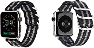 Aduro Nylon Buckled Wristband Compatible with Apple Watch Band 42mm Nylon iWatch Bands Replacement Straps Grey Striped