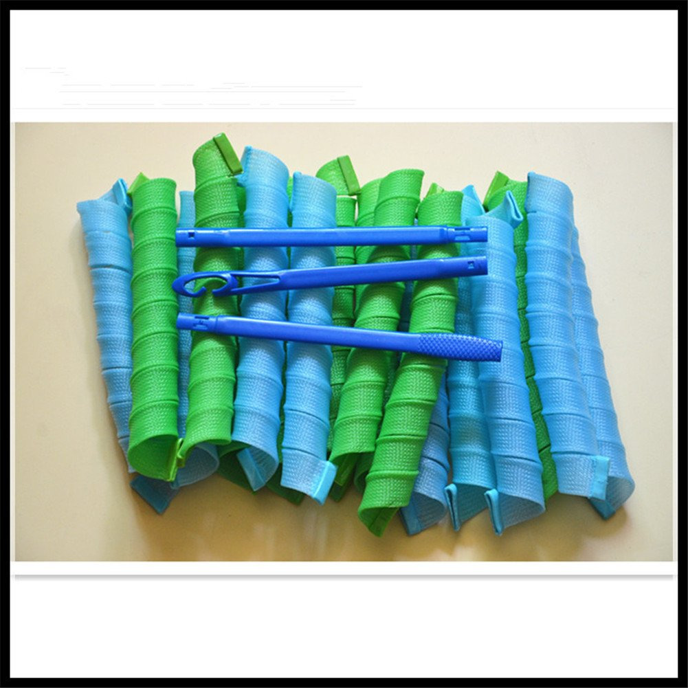 30CM DIY Magic Hair Rollers Curls Spiral Styling Blue/Green Curlers 18PCS FWM Care