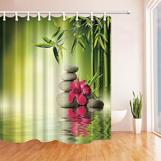 Nyngei Jardín Zen Decoración bambú Flor roja en el Agua Cortina Ducha 180X180CM Moho Tela poliéster Resistente al baño Decoraciones fantásticas Ganchos para Cortinas baño: Amazon.es: Hogar