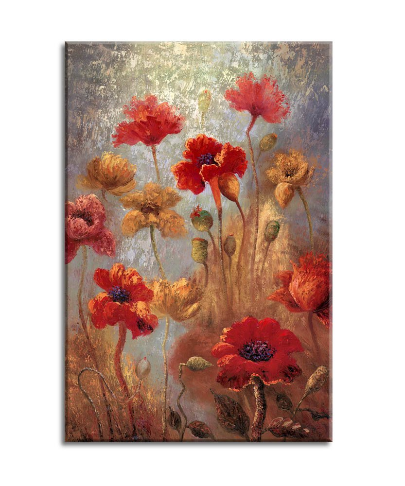 Canvas wall art painting red flowers framed and ready to hang 16 x 24 abstract painting red poppies contemporary pictures artwork prints for home
