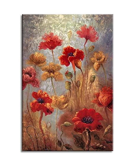 Canvas Wall Art Painting Red Flowers Framed and Ready to Hang - 16