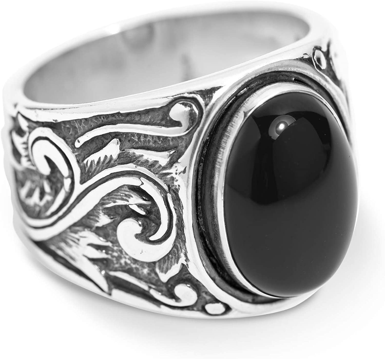 American West Sterling Silver Black Agate, Blue Lapis or Tiger Eye Gemstone Scroll Leaf Wide Ring Size 8 to 13