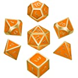 Hestya 7 Pieces Metal Dices Set DND Game Polyhedral Solid Metal D&D Dice Set Storage Bag Zinc Alloy Enamel Role Playing Game Dungeons Dragons, Math Teaching (Golden Edge Orange)