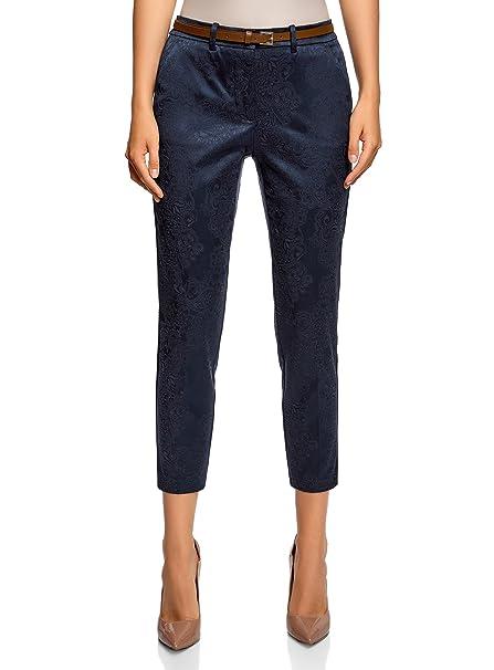 oodji Collection Mujer Pantalones de Jacquard con Cinturón: Amazon.es: Ropa y accesorios