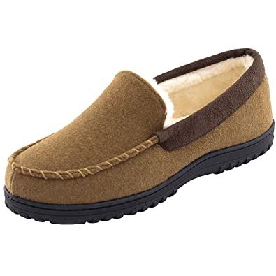 b750e104b255 Men s Indoor Outdoor Wool Micro Suede Plush Fleece Lined Moccasin Slippers  House Shoes (7 UK