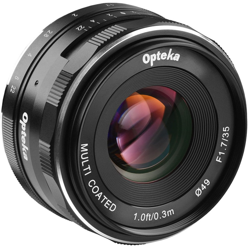 Opteka 35mm f/1.7 HD MF Prime Lens with 3 Filters + Tripod Kit for Olympus OM-D, Pen & Panasonic LUMIX Micro 4/3 Digital Cameras by Opteka (Image #2)