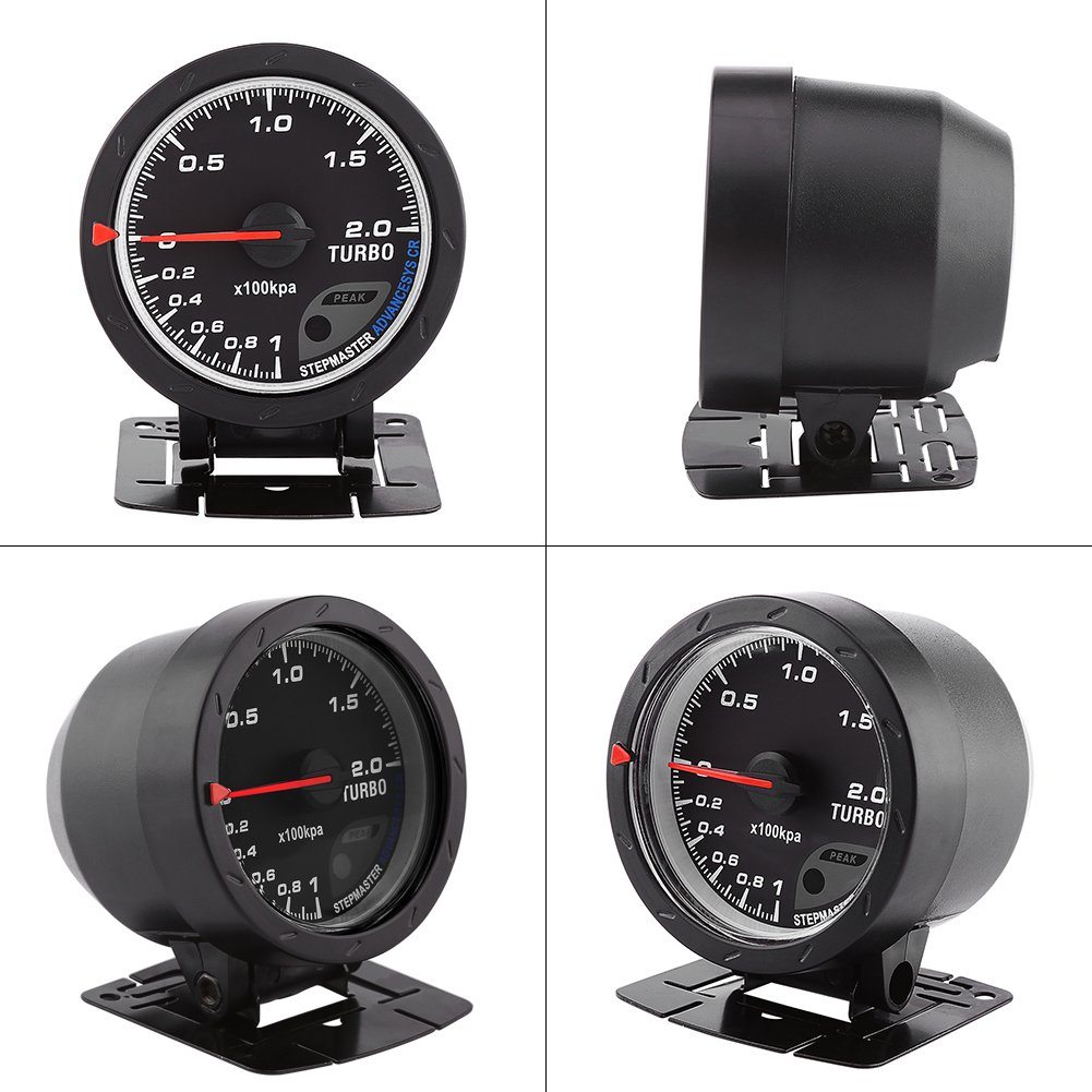 Acouto Universal 60 mm Indicador de Medidor de Turbo de LED Caparazón Negro: Amazon.es: Coche y moto