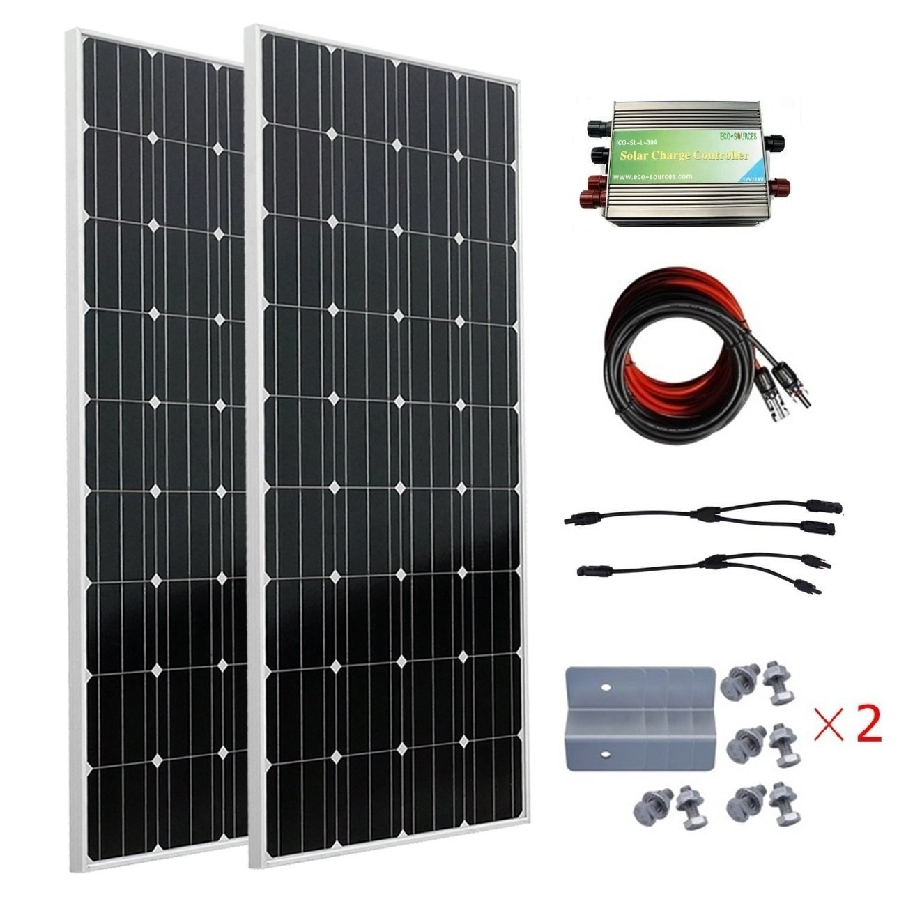 ECO-WORTHY 300W Mono Solarmodule Offgrid Bausatz - 2 X 150 Watt Photovoltaik Solarpanel W/ 30A Laderegler zum Aufladen von 12/24V Batterien