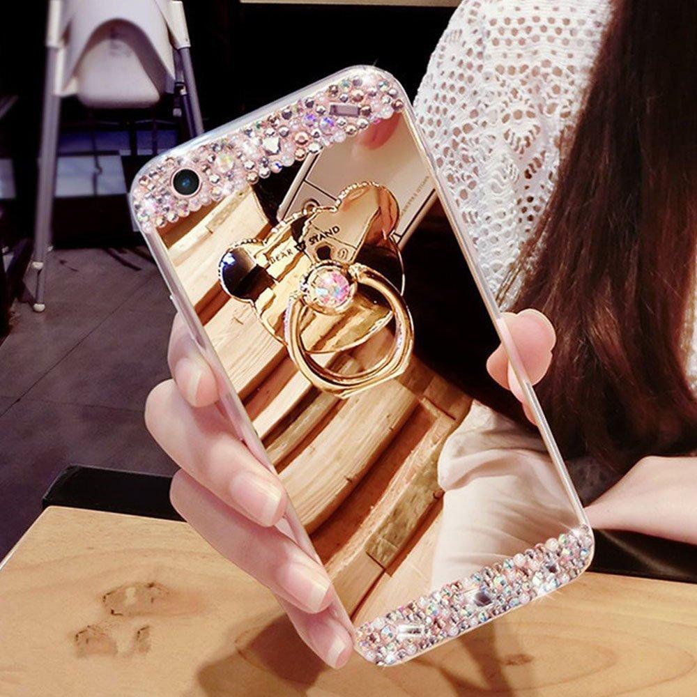 Funda iPhone 8 Plus Caso 5.5 inch, Carcasas para iPhone 7 Plus, EMAXELERS Funda Cute Bear Ring Stand Titular Caso, Funda para iPhone 8 Plus Suave Flexible Lujo Caso Shockproof Slim Funda Lindo Bling Glitter Diamante Rhinestone Espejo Volver caso patrón Spa