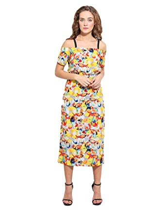 fc712093b8d1 The Silhouette Store Yellow Floral Print Off Shoulder Dress with Silver  Belt X-Large