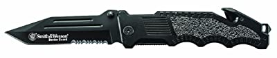Smith & Wesson Border Guard SWBG2TS Liner Lock Folding Knife Partially Serrated Tanto Blade Aluminum Handle
