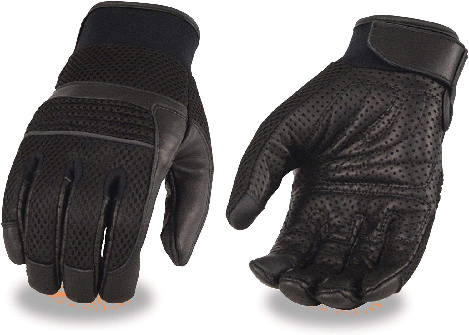 X-Large Milwaukee Leather MG7503 Mens Touch Screen Fingers Black Leather and Mesh Racing Gloves