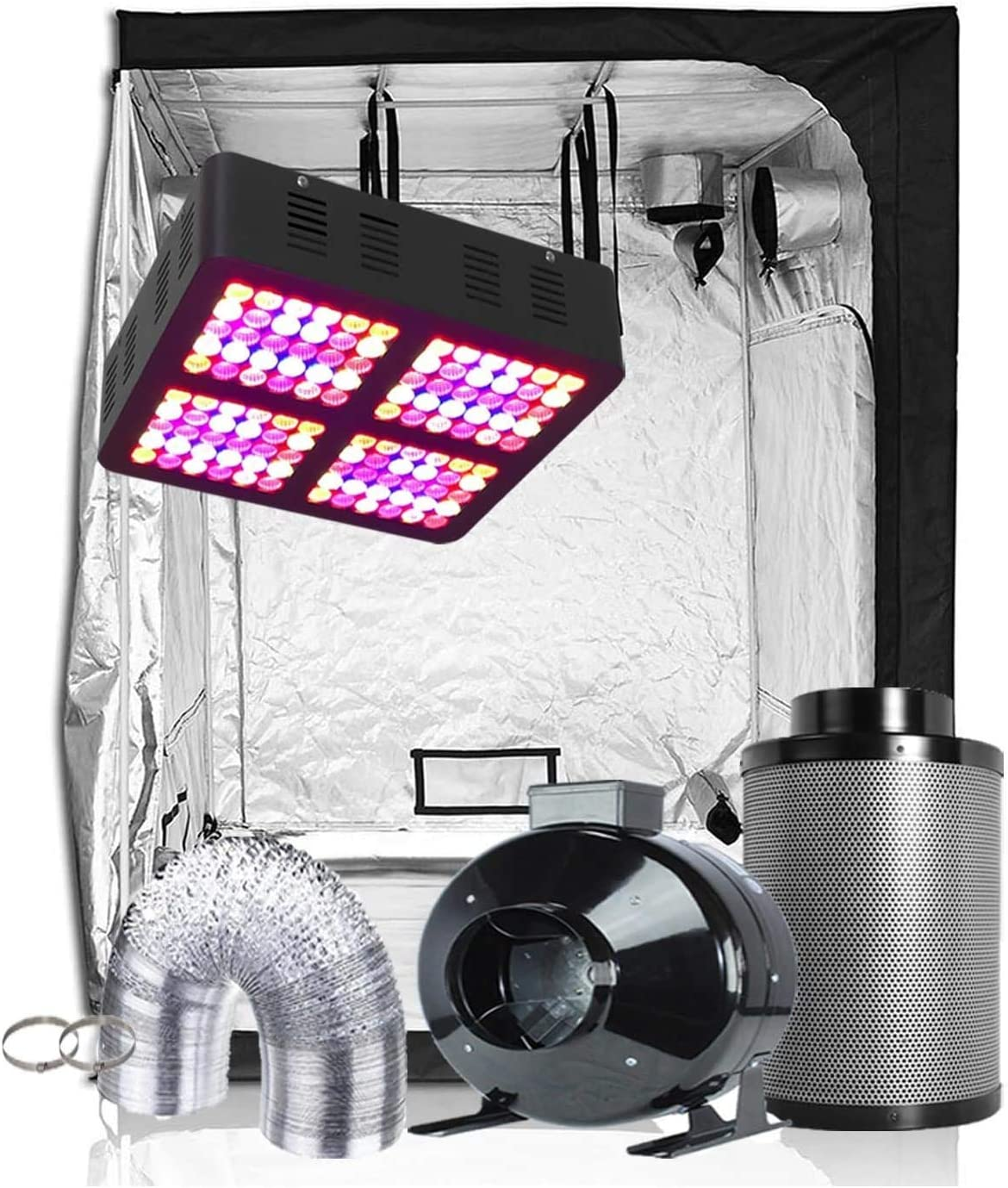 Plant House Indoor Complete Grow Tent Kit with Horticulture Lighting Group HLG 100 V2 4k Quantum Board LED Light, Fox Farm Potting Soil, Fan Kit, Fabric Pots and Accessories