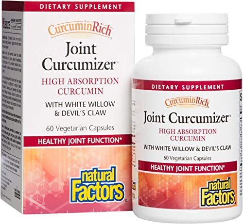 CurcuminRich Joint Curcumizer by Natural Factors, Support Healthy Joints, Heart and Natural Inflammatory Response with White Willow, 60 Capsules 30 Servings