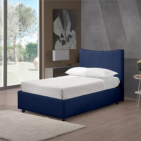 Sararreda Luna Letto Singolo con Vano Contenitore, Imbottito e con  Rivestimento in Ecopelle - Colore Blu - Made in Italy