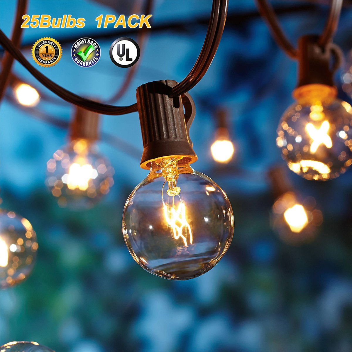 Globe String Lights G40 UL Listed Patio Lights for Indoor Outdoor Commercial Decor 25Ft with 25 Clear Bulbs Outdoor String Lights for Party Wedding Garden Backyard Deck Yard Pergola Gazebo, Black by Upook (Image #2)
