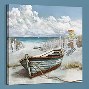 Light Blue ocean Decor Bathrooms Wall Art Print Artwork Poster Marine Theme Boat And Guide Board on Canvas Painting on Modern Sea View Room Bedroom Office Restaurant fireplace Mural Decor(Boat