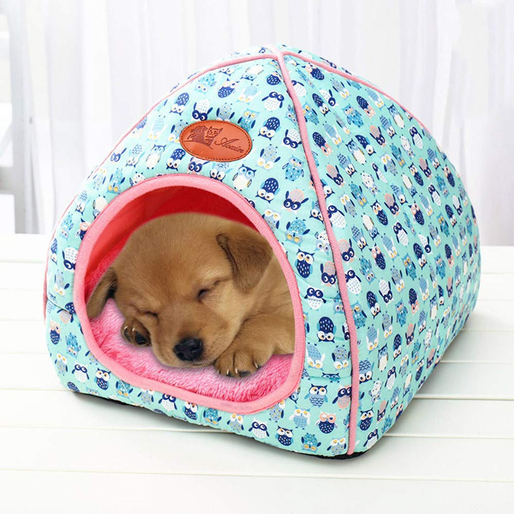 Glumes Pet Cat Puppy Warm Cute Cave Nest Pet Tent House Cozy Sleeping Bed for Kitten Rabbit Small Animals with Removable Cushion Mat Inside