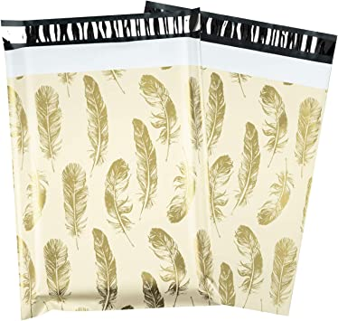 Designer Printed Poly Mailers 10X13 Shipping Envelope BLACK GOLD STARS 100 Pcs