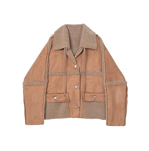 Todo-en-uno piel de invierno costura abrigo corto femenino