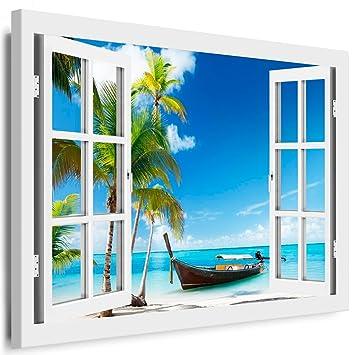 Blick aus dem fenster poster  Amazon.de: BOIKAL XXL60-2 Fensterblick Leinwand bild 3D Illusion ...