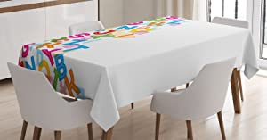 Ambesonne Colorful Home Decor Tablecloth, Alphabet Background with Letter Icons Words Literature Textured Fun Print, Dining Room Kitchen Rectangular Table Cover, 60