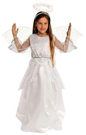 Magi Coo Navidad Ángel Disfraz Infantil niña con alas Plata de Color Blanco – Ángel Disfraz Talla 92 hasta 140