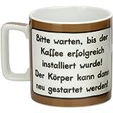 Sheepworld 42479 Tasse Wortheld Bitte warten bis der Kaffee erfolgreich installiert wurde! Der Körper kann dann neu gestartet werden!, Porzellan, Braun/weiß