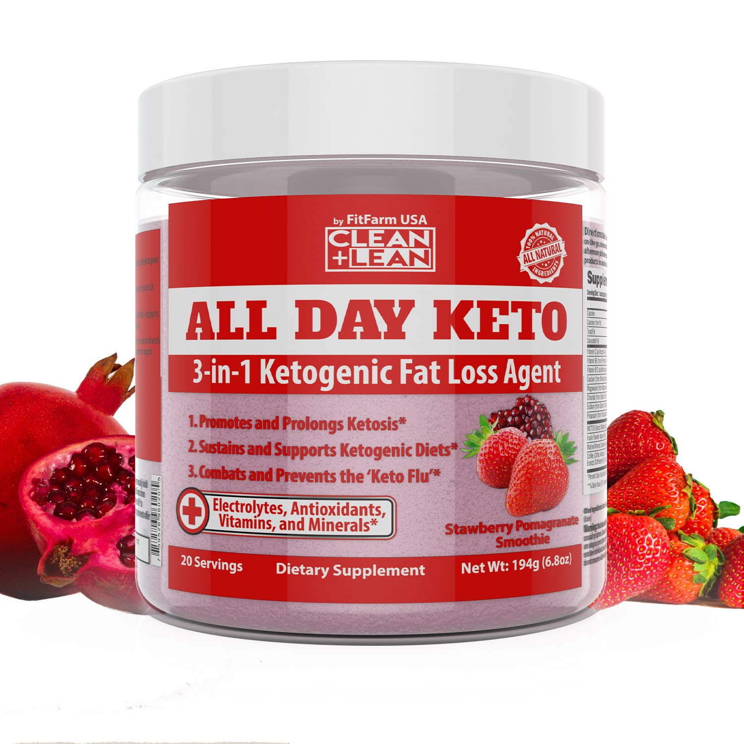 All Day Keto 3-in-1 Ketogenic Fat Loss Agent-Ignite Ketosis, Propel Your Keto Diet & Combat Keto Flu | MCT+Prebiotic+Electrolytes+Organic Energy & Mineral Complex|All Natural Gluten Free & Delicious! by FIT FARM USA