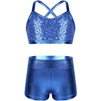moily Kids Girls Sequins Tankini Set Criss Cross Back Crop Top with Booty Shorts Gymnastics Bodysuit Swimwear