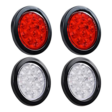 Amazon Com 4x Red White 4 Round 12 Led Stop Brake Tail