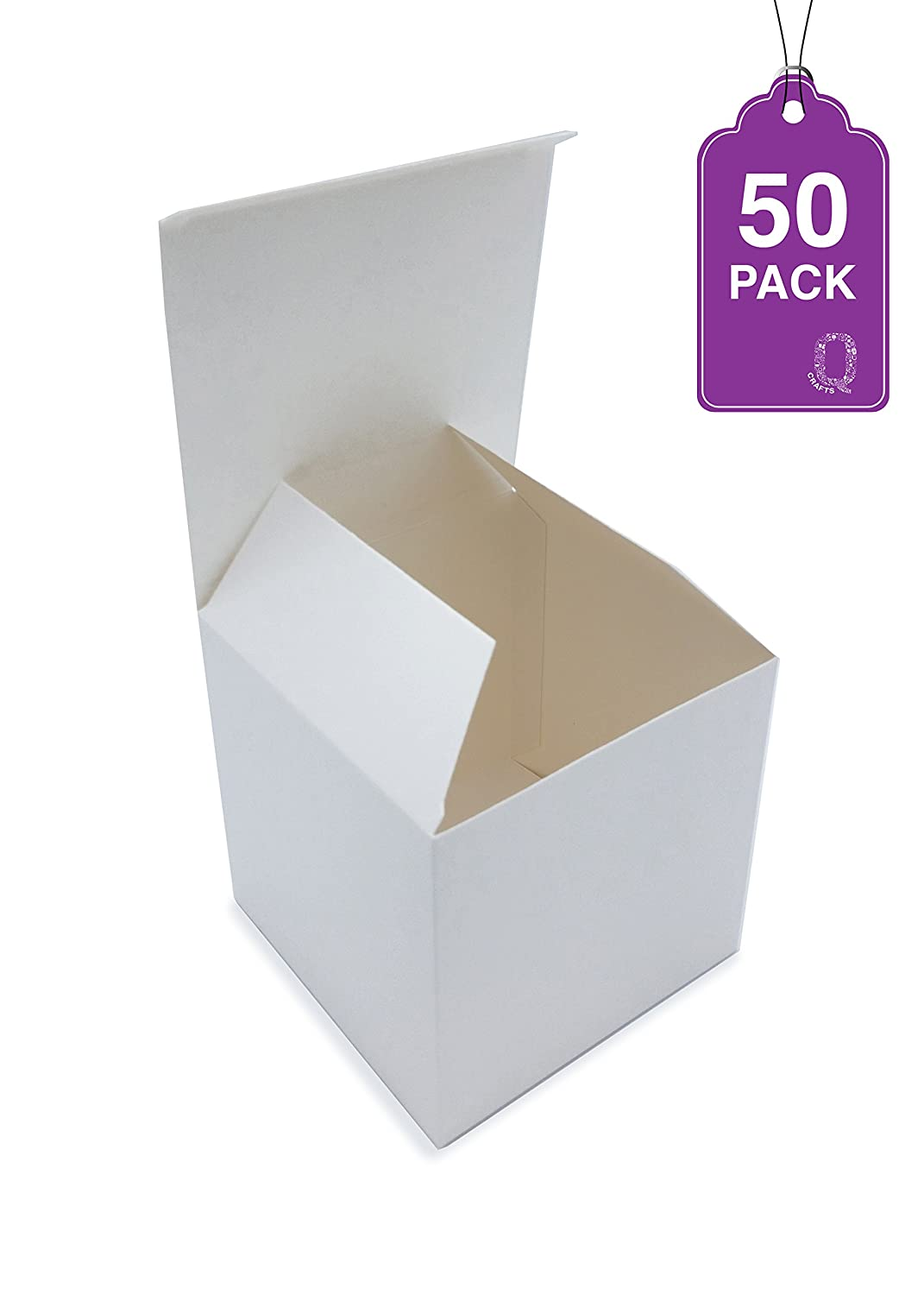 Gift Boxes White 50 Pack 4 x 4 x 4 Cupcake boxes, Craft box