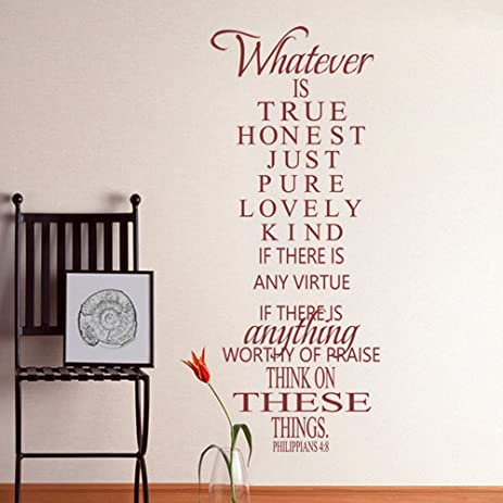 Bible Verse Wall Decal Philippians 4:8 Whatever Is True   Vinyl Wall Word  Art