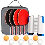 Fostoy Table Tennis Set, 4 Ping Pong Paddles with 8 Table Tennis Balls and Retractable Ping Pong Net, Ideal Indoor and…