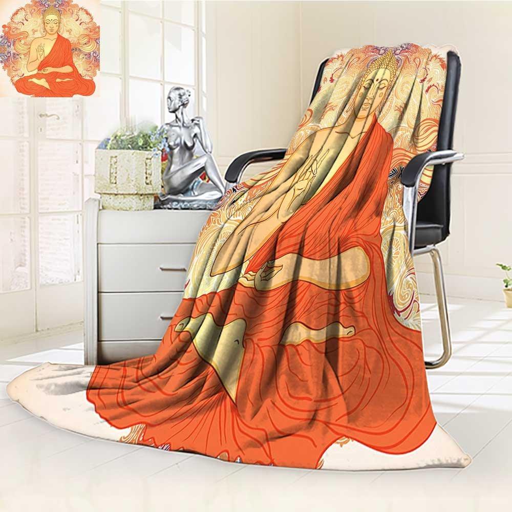 Digital Printing Blanket Yoga Meditation Aura Thai Temple Ornamental Motive Spiritual Design Print Orange Summer Quilt Comforter by AmaPark