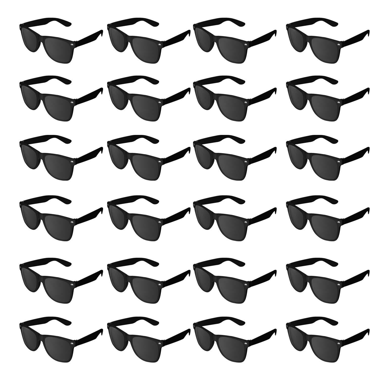 Super Z Outlet Plastic Vintage Retro Style Sunglasses Classic Shades Eyewear Party Prop Favors (24 Pairs) (Black)