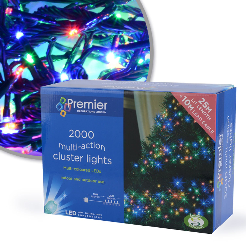 Multi Action Christmas LED Cluster Lights - 2000 LEDs - Multi-Coloured