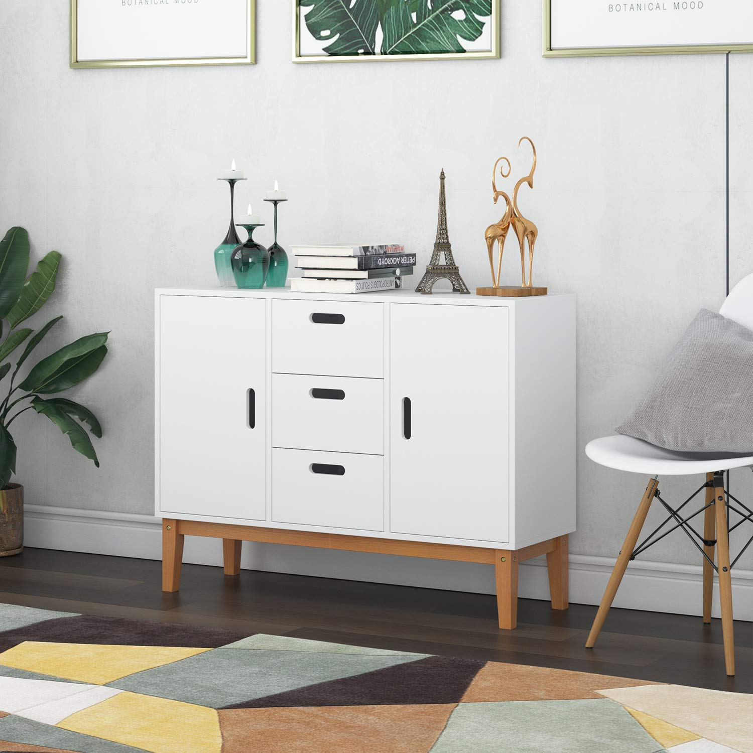 HOMECHO Floor Buffet Sideboard Storage Cabinet Freestanding Console Table Cupboard Chest 2 Door, 3 Drawers and 2 Inside Adjustment Shelf for Hallway, Living Room and Kitchen White Color HMC-MD-004 by HOMECHO (Image #4)