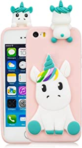 DAMONDY iPhone 5S Case, iPhone 5, iPhone SE Case, iPhone SE Cute case, 3D Cute Unicorn Cartoon Soft Gel Silicone Design Rubber Skin Thin Protective Cover Phone Case for iPhone 5/5S/SE-Pink