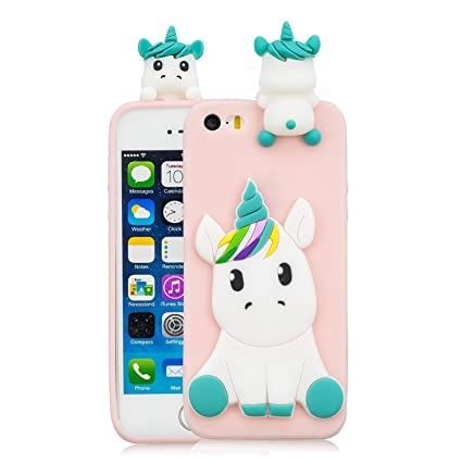 Leton Funda iPhone 5s Silicona Unicornio 3D Suave Flexible TPU Carcasa iPhone 5s/5/se Apple Ultra Delgado Mate Gel Tapa Antigolpes Goma Cubierta Case ...