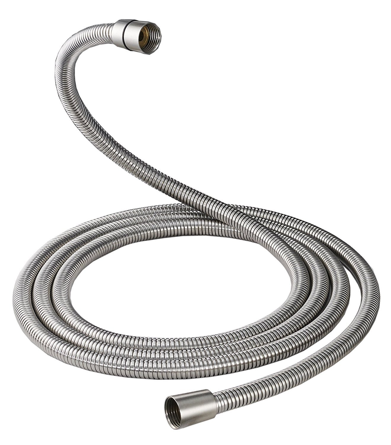 GGStudy Brushed Nickel 100 Inch Brass Fittings Extra Long Flexible Stainless Steel Replacement Handheld Shower Hose