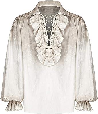 Punk Rave - Camisa con volantes, estilo rústico, color crema beige XXL/3XL: Amazon.es: Ropa y accesorios