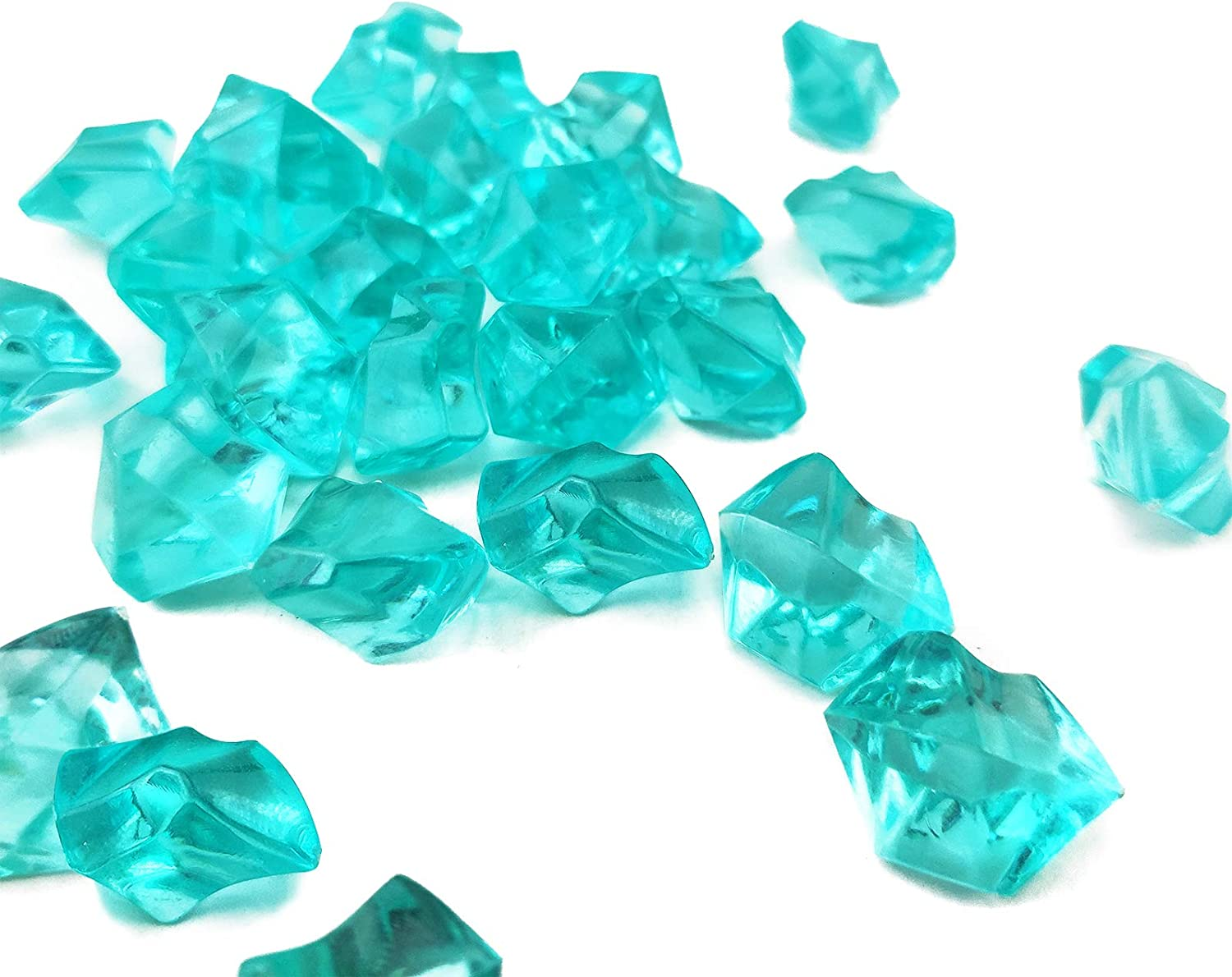 HappyFiller 175 PCS(1LB) Sea Blue Acrylic Ice Rocks Fake Diamonds Plastic Crystal Ice Cubes for Table Scatters,Summer Decor,Party Decoration,Candle Holder,Food Showcase