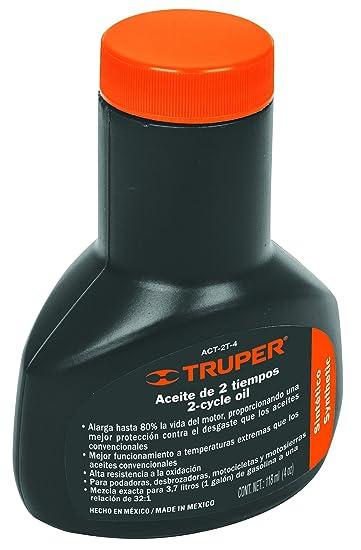 TRUPER ACT-2T-4 Aceite sintético de motor de dos tiempos, 4 onzas ...