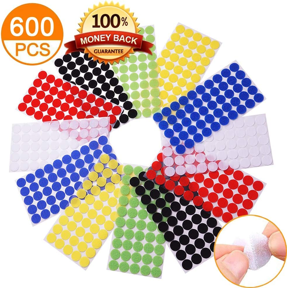 "Self Adhesive Dots, Strong Adhesive 600pcs(300 Pairs) 6 color 3/4"" Diameter Sticky Back Coins Nylon Coins, Hook & Loop Dots with Waterproof Sticky Glue Coins Tapes, Suitable for Classroom, Office, Hom"