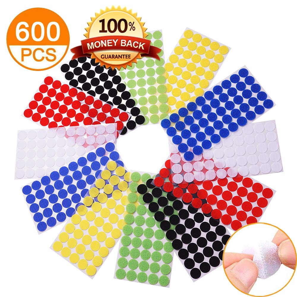 Self Adhesive Dots, Strong Adhesive 600pcs(300 Pairs) 6 color 3/4'' Diameter Sticky Back Coins Nylon Coins, Hook & Loop Dots with Waterproof Sticky Glue Coins Tapes, Suitable for Classroom, Office, Hom by Lufe